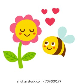 Cute cartoon bee and flower in love, with smiling faces and hearts. Adorable Valentines day greeting card vector illustration.
