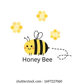 Cute cartoon bee icon and honeycomb isolated on white background vector illustration.