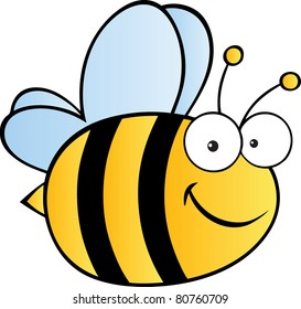Cute Cartoon Bee.Vector illustration