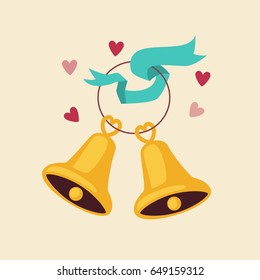 Cute cartoon bells icon. Vector illustration