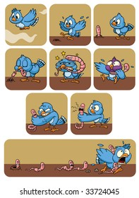 A cute cartoon bird fighting a worm. All elements on different layers for easy editing.
