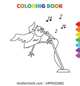 cute cartoon bird singin a song to microphone around music notes coloring book for kids. black and white vector illustration for coloring book. bird singin a song to microphone around music notes