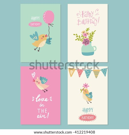 Cute Cartoon Birds Flowers Print Stock Vector Royalty Free