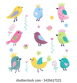 Cute cartoon birds and flowers in vector. Stylish floral card. Summer background in bright colors. Greeting card, poster, banner illustration. Isolated scandinavian cartoon illustration