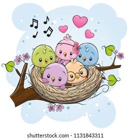 Cute Cartoon Birds in a nest on a branch