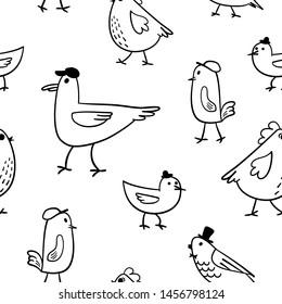 Cute cartoon birds seamless pattern
