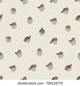 Cute cartoon birds sparrow seamless pattern