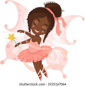 Cute cartoon black ballerina in pink dress with ribbons. Little Fairy African American child dancing ballet dressed as a fairy. Vector illustration isolated on white background.