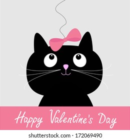 Cute cartoon black cat with pink bow. Happy Valentines Day card. Vector illustration.