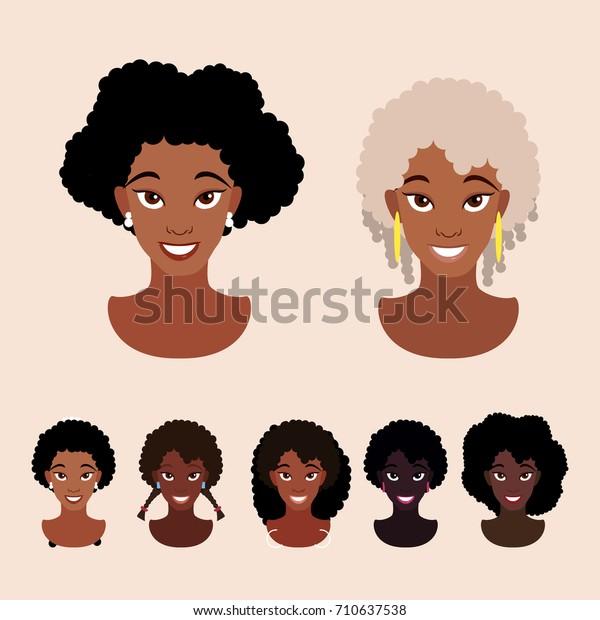 Cute Cartoon Black Girls Natural Hairstyles Stock Vector Royalty
