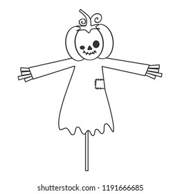 cute cartoon black and white halloween vector illustration with pumpkin scarecrow isolated