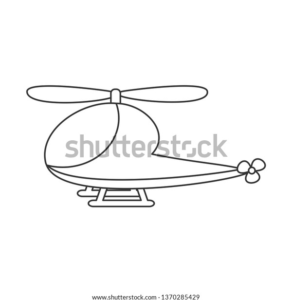 Cute Cartoon Black White Helicopter Sky Stock Vector