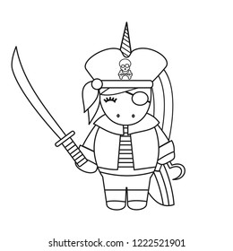cute cartoon black and white pirate unicorn with sword vector illustration