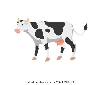 Cute cartoon black and white spotted cow. Holstein frisian breed domestic cattle for milk, dairy products and meat. Flat vector isolated illustration.