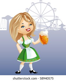cute cartoon blonde girl with glass of beer dressed in traditional German dress dirndl. eps8 file. Background is placed in separate layer