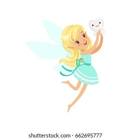 Cute cartoon blonde Tooth Fairy girl flying with tooth colorful character vector Illustration