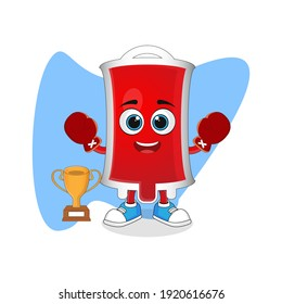 Cute Cartoon Blood Bag Proud Boxing Winner Presenting Trophy, Good Design For Character Theme