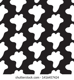 Cute cartoon blot pattern with hand drawn blots. Sweet vector black and white blot pattern. Seamless monochrome doodle blot pattern for textile, wallpapers, wrapping paper, cards and web.
