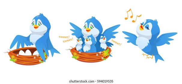 Cute cartoon blue bird character with baby birds and eggs in nest. Flying, singing, standing, tweeting. Mom and kids. Vector illustration.