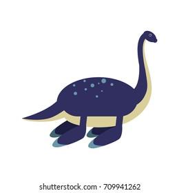 Cute cartoon blue elasmosaurus dinosaur, prehistoric and jurassic monster vector Illustration
