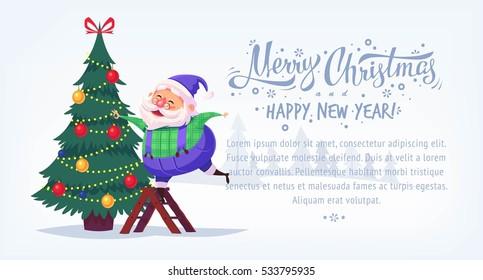 Cute cartoon blue suit Santa Claus decorating Christmas tree Merry Christmas vector illustration Greeting card poster horizontal banner