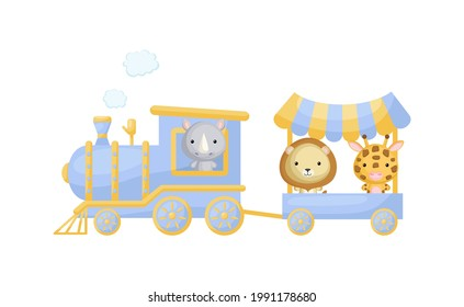 Cute cartoon blue train with rhino driver and lion, giraffe on waggon on white background. Design for childrens book, greeting card, baby shower, party invitation, wall decor. Vector illustration.