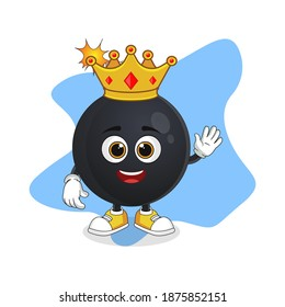 Cute Cartoon Bomb A Wise King with Gold Crown, Suitable For Explosion Themed Designs
