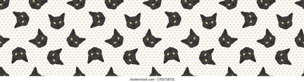 Cute cartoon Bombay cat face seamless border pattern. Pedigree kitty breed domestic kitty background. Cat lover Asian purebred washi ribbon. Feline EPS 10 trim.