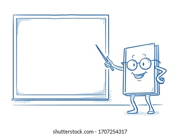 Cute cartoon book charachter smiling and pointing to an empty blackboard. Mascot for kids and school. Hand drawn line art cartoon vector illustration.