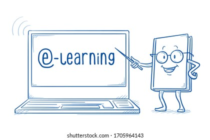 Cute cartoon book character with pointing staff, recommending e-learning course or webinar on laptop screen. Hand drawn line art cartoon vector illustration.