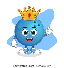 Cute Cartoon Bowling Ball A Wise King with Gold Crown, Nice Design For Character Theme