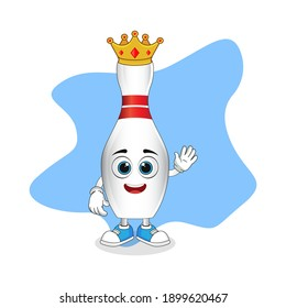 Cute Cartoon Bowling Pin A Wise King with Gold Crown, Nice Design Theme For Mascot