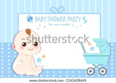 Cute Cartoon Boy Baby Shower Invitation Stock Vector Royalty Free