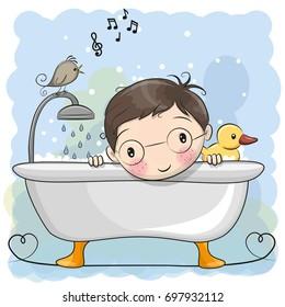 Cute cartoon Boy in the bathroom and a bird