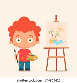 Cute Cartoon Boy with Brush and Paints. Easel with a Beautiful Drawing. Colorful Vector Illustration