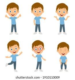 cute cartoon boy emotions set,illustration,vector