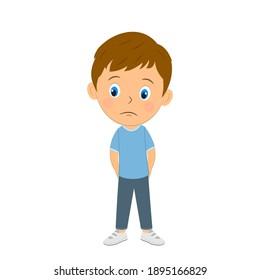 cute cartoon boy epresses bore,sad,illustration,vector