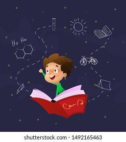 Cute cartoon boy fly through night sky riding on book. Education concept illustration