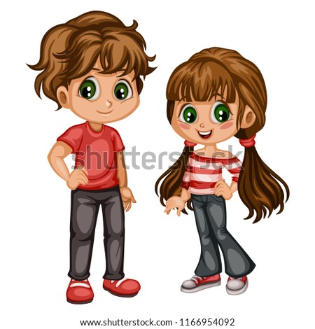 Cute Cartoon Boy and Girl in Beautiful Clothes. Happy Little Kids Vector  Illustration Isolated on 37043fe8fbfe2