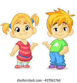 Cute cartoon boy and girl with hands up vector illustration. Boy and girl  greeting design. Kids summer dress. Children vector. Casual style dressed children. Blond brother and sister presenting.