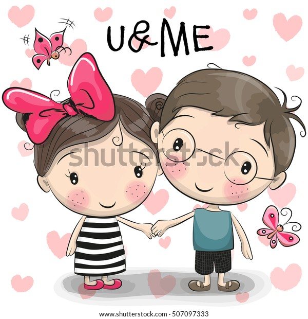 Cute Cartoon Boy Girl Holding Hands Royalty Free Stock Image