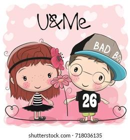 Cute Cartoon Boy and Girl on a hearts background