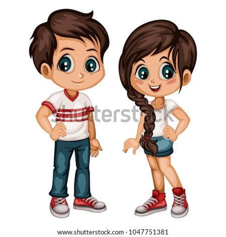 Cute Cartoon Boy Girl Sport Clothes Stock Vector Royalty Free - Cartoon-boy-images-free