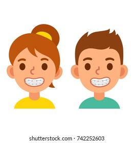 Cute cartoon boy and girl with teeth braces. Smiling kids with dental treatment, vector illustration.
