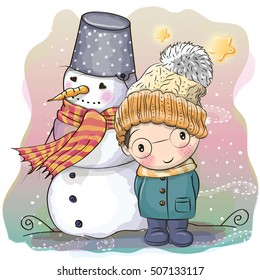 Cute Cartoon Boy in a knitted cap and a coat and snowman