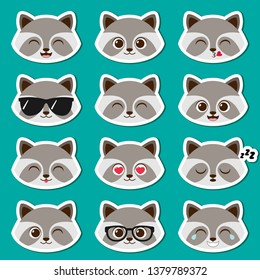 Cute cartoon boy raccoon with different expressions. Vector set of male racoon emojis