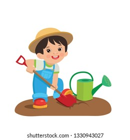 Cute Cartoon Boy With Shovel And Watering Can. Young Farmer Working In The Garden Colorful Simple Design Vector. Spring Gardening Vector.