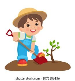 Cute Cartoon Boy With Shovel. Young Farmer Planting A Tree Colorful Simple Design Vector. Spring Gardening.