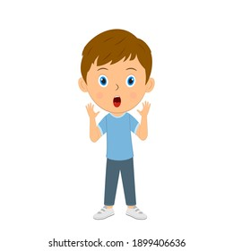 cute cartoon boy show surprise,illustration,vector