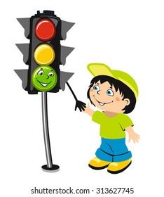 Cute cartoon boy and traffic light